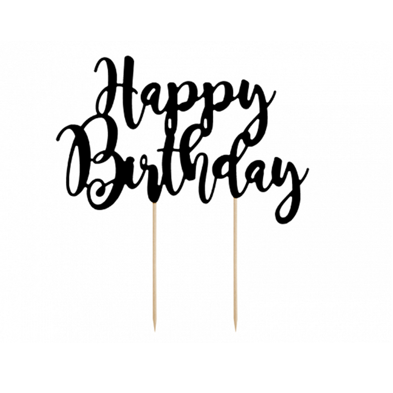 Slika za Party Deco®  Natpis za tortu Happy Birthday Black