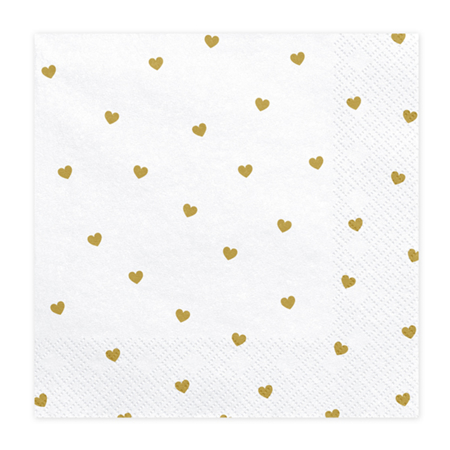 Slika za Party Deco® Troslojne salvete Hearts White 20 komada