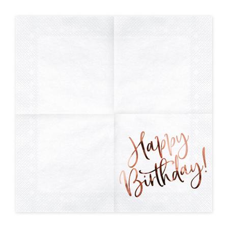 Party Deco® Troslojne Salvete Happy Birthday White 20 komada