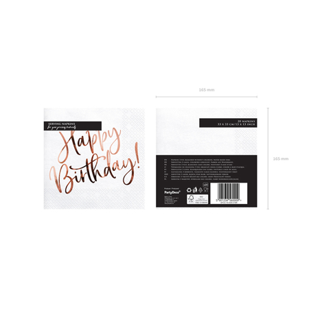 Slika za Party Deco® Troslojne Salvete Happy Birthday White 20 komada
