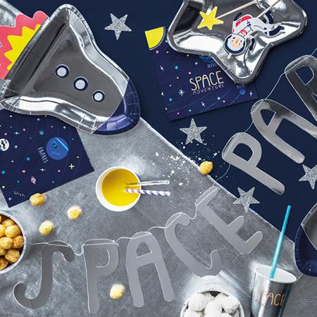 Slika za Party Deco® Papirni tanjurići Svemirski party Raketa 6 kom
