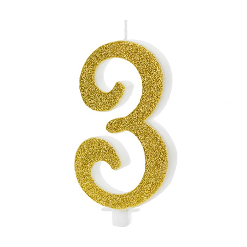 Slika za Party Deco® Rođendanska Svijećica broj 3 Gold