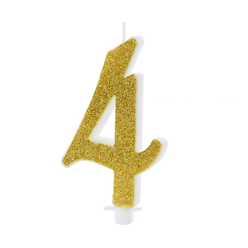 Slika za Party Deco®  Rođendanska svijećica broj 4 Gold