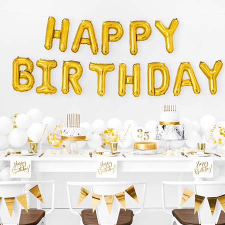 Slika za Party Deco®  Baloni Happy Birthday Gold
