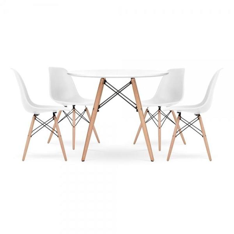 Slika za EM Furniture Set stolića i 4 stolice White