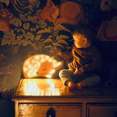 Slika za  Little Lights® Ručno napravljena drvena lampa Deer Forest Light Brown