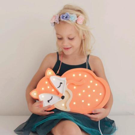 Little Lights® Ručno napravljena drvena lampa Fox Wild Orange