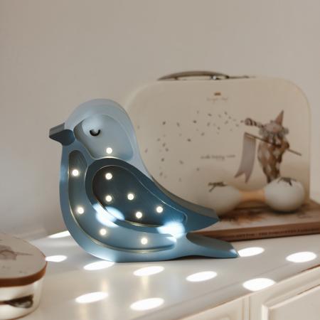 Little Lights® Ručno napravljena drvena lampa Bird Denim Mini