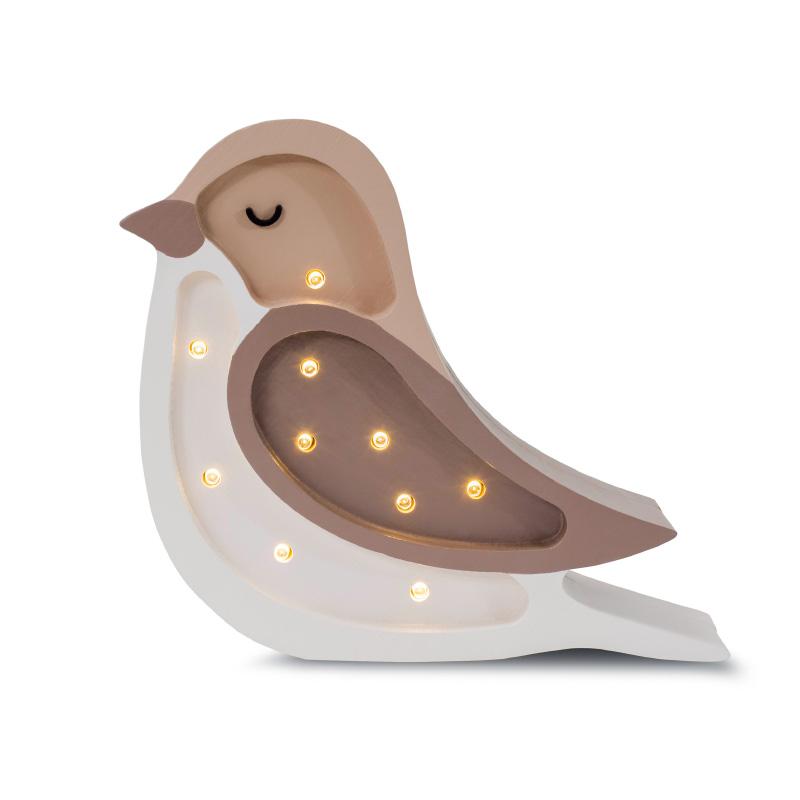Slika za Little Lights® Ručno napravljena drvena lampa Bird Coffee Beige Mini
