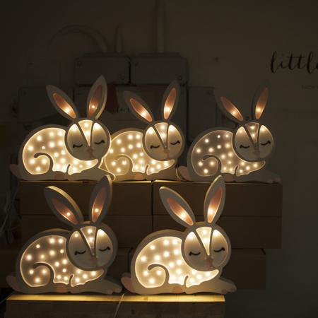 Slika za Little Lights® Ručno napravljena drvena lampa Bunny Snow White