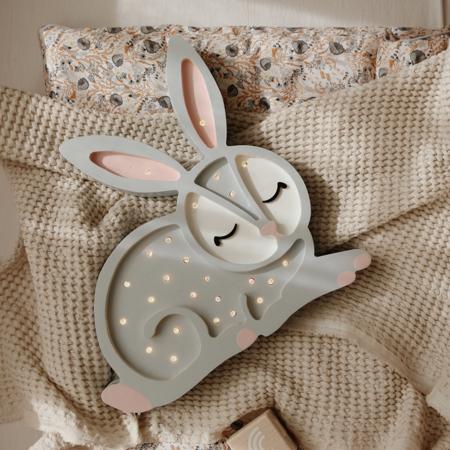 Little Lights® Ručno napravljena drvena lampa Bunny Light Grey
