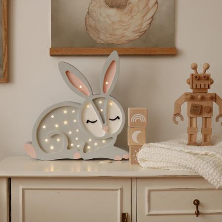 Slika za Little Lights® Ručno napravljena drvena lampa Bunny Light Grey
