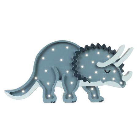 Slika za Little Lights® Ručno napravljena drvena lampa Dino Triceratops Jurassic Navy