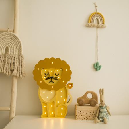 Little Lights® Ručno napravljena drvena lampa Lion Yellow