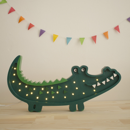Little Lights® Ručno napravljena drvena lampa Crocodile Papkin Green