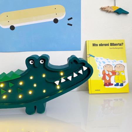 Slika za Little Lights® Ručno napravljena drvena lampa Crocodile Papkin Green