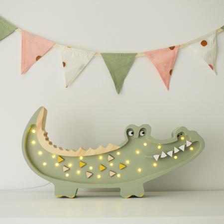 Little Lights® Ručno napravljena drvena lampa  Crocodile Pastel Khaki