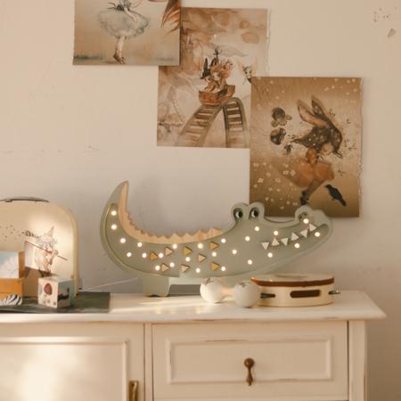 Slika za  Little Lights® Ručno napravljena drvena lampa  Crocodile Pastel Khaki