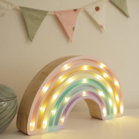 Little Lights® Ručno napravljena drvena lampa Rainbow Pastel