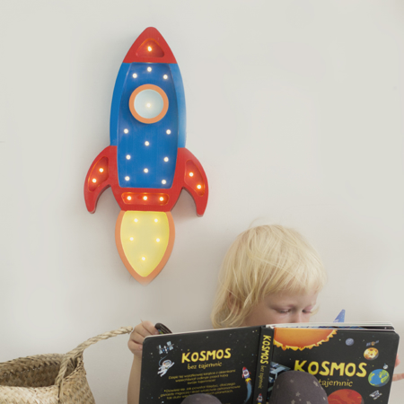 Slika za Little Lights® Ručno napravljena drvena lampa Rocket Navy