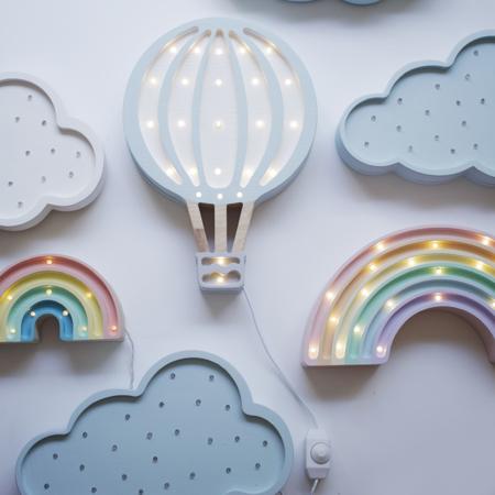 Little Lights® Ručno napravljena drvena lampa Hotairbaloon Blue Sky