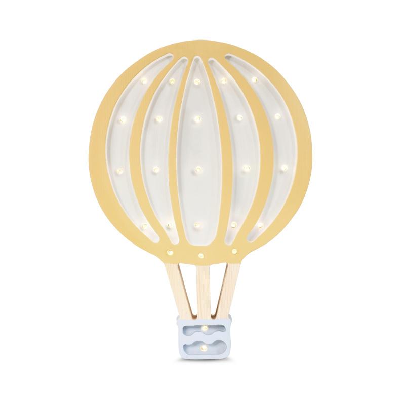 Slika za Little Lights® Ručno napravljena drvena lampa Hotairbaloon Mustard