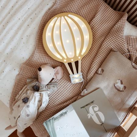 Little Lights® Ručno napravljena drvena lampa Hotairbaloon Mustard