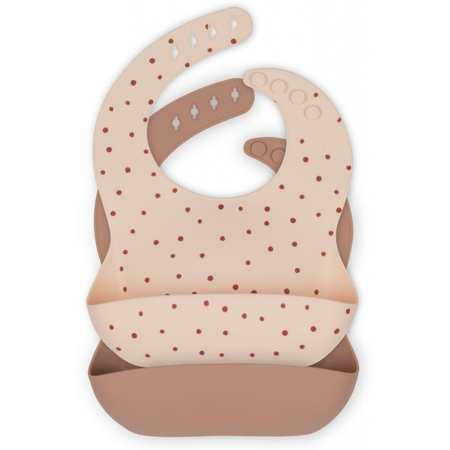 Slika za Konges Sløjd® Komplet dva silikonska podbradnjaka Raspberry Red Dot/Bark