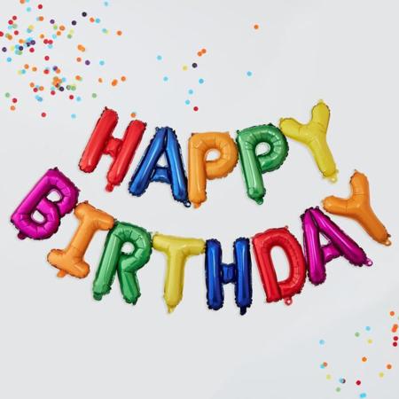 Slika za Ginger Ray® Baloni Happy Birthday Rainbow