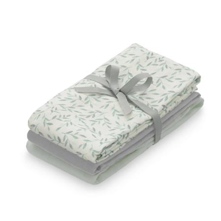CamCam® Tetra pelene GOTS Mix Green Leaves, Dusty Green, Grey 3 komada (70x70 )