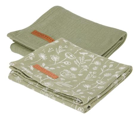 Slika za Little Dutch® Komplet 2 tetra pelene Wild Flowers Olive/Pure Olive 70x70