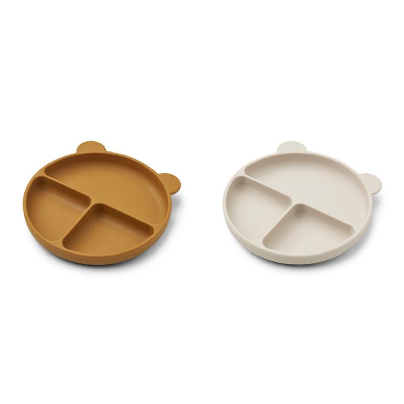 Slika za Liewood® Komplet dijeljenih silikonskih tanjurića Merrick Golden Caramel/Sandy Mix