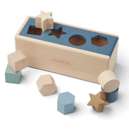 Slika za Liewood® Drvena kutija Midas Puzzle Box Geometric Whale Blue Multi Mix