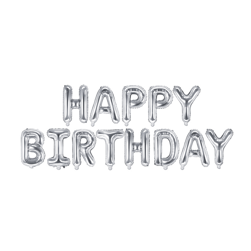 Slika za Party Deco®  Baloni Happy Birthday Silver