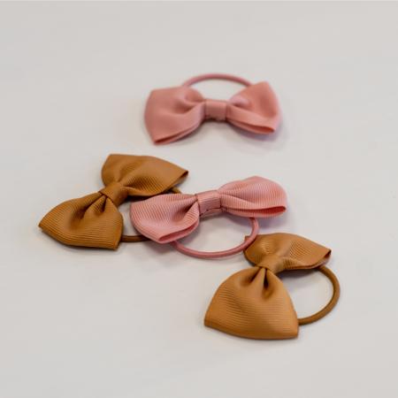 Slika za Elastike za kosu Leptir mašna  Ø3,5cm 4 kos Mustard & Powder Pink