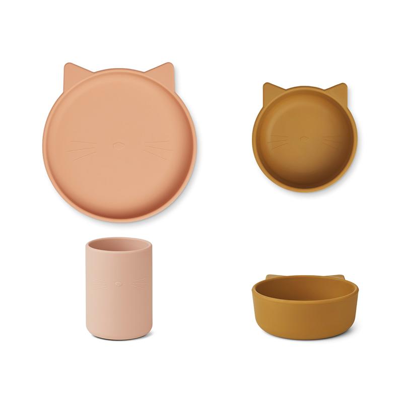 Slika za Liewood® Set za jelo od silikona Cyrus Junior Cat Rose Multi Mix