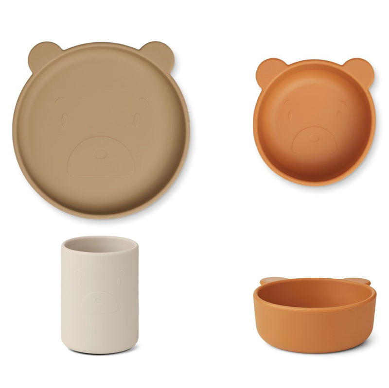 Slika za Liewood® Set za jelo od silikona Cyrus Junior Mr bear/oat multi mix